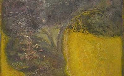 (detail) Eric Holzman, Tree & Car, 2014, oil on canvas, 12 x 8 1/4 inches (court