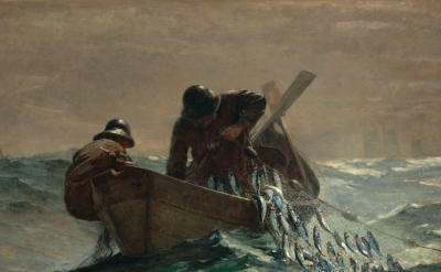 (detail) Winslow Homer, The Herring Net, 1885, oil on canvas, 30 1/8 x 48 3/8 in