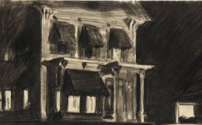 (detail) Edward Hopper, Study for Rooms for Tourists, 1945, fabricated chalk and