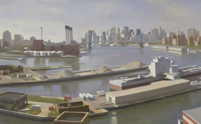 (detail) Diana Horowitz, Wallabout Basin 22 x 32 inches, oil on linen, 2004 (cou