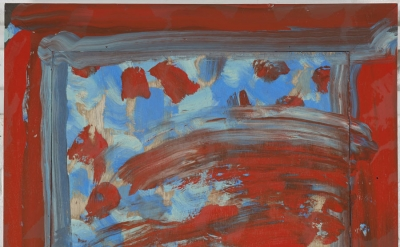 Howard Hodgkin, Flowers, 2011, Oil on wood, 25 1/4 x 28 3/4 inches (courtesy Gag