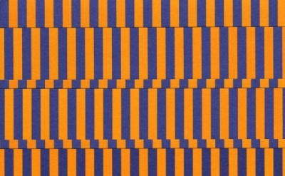 (detail) Gilbert Hsiao, Quad Band, 2011, purple and orange cut paper on purple a