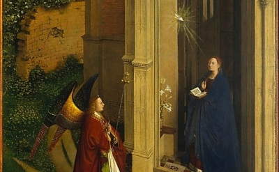 (detail) The Annunciation, Attributed to Petrus Christus, ca. 1450, oil on wood