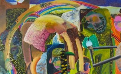 (detail) Shara Hughes, My Hero, 2014, oil, enamel, acrylic, spray paint on canva
