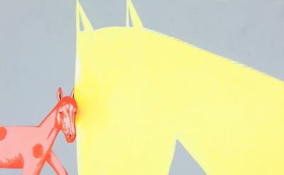 David Humphrey, Horsey Love, 2014, acrylic on canvas, 60 × 72 inches Collection