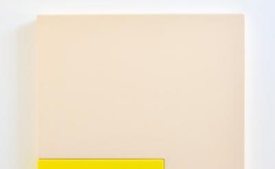 Suzie Idiens, Flesh Yellow, MDF and Polyurethane, 69 x 77 x 7 cm, 2012 (courtesy