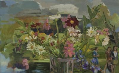 Vera Iliatova, Rosesudden, 2015, oil on canvas, 26 by 30 inches (courtesy of Mon