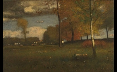 (detail) George Inness, Near The Village, October, oil on canvas, 30 x 45 inches