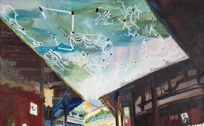 Jane Irish, House of Tan Ky, 2015, tempera on linen, 50 1/2 x 55 inches (courtes