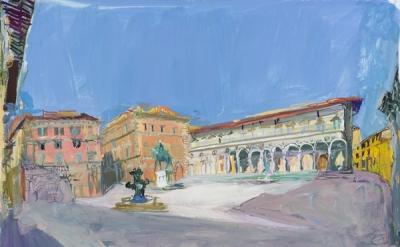Jane Irish, Piazza della Santissima Annunziata, 2013, gouache on Tyvek, 14 x 19