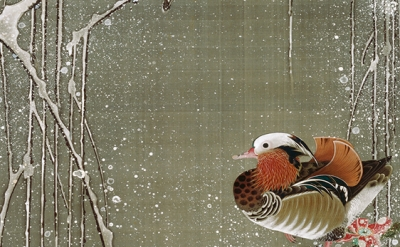 (detail) Ito Jakuchu, Mandarin Ducks in Snow, from Colorful Realm of Living Bein