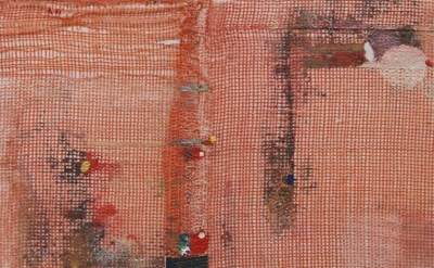 (detail) Merlin James, Red, 2013-14, acrylic on canvas 17.5 x 26.5 inches  (cour