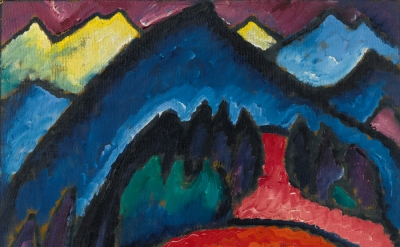 Alexei Jawlensky, Oberstdorf-Mountains, 1912, oil on cardboard, 19-1/2 x 22-1/2 inches (courtesy of the Petr Aven Collection)
