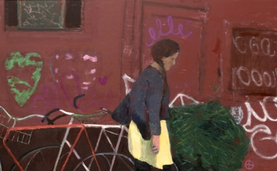 (detail) Elisa Jensen, Yellow Skirt, Brooklyn, 2014, oil on linen, 52 x 78 inche