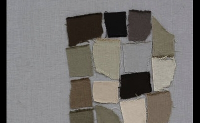 (detail) Sergej Jensen, Palette Head, 2005, canvas on canvas, 23 1/2 x 17 3/4 in