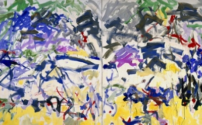 (detail) Joan Mitchell, River, 1989, Oil on canvas, Diptych, 110 x 157 1/2 inche