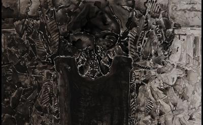 (detail) (detail) Jasper Johns, Untitled, 2013, ink on plastic, 27 1/2 × 36 inch
