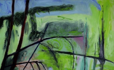 Lucy Jones, Overhanging Trees, 2011, oil on canvas, 50 x 66 1/4 inches (courtesy