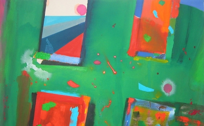Patrick Jones, Red and Green, 2014, 118 x 184cm, acrylic on canvas (courtesy of