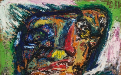 Asger Jorn, Untitled (Faces in a Head), ca. 1960, oil on fiberboard, 19.7 x 27.6 inches (courtesy of Petzel Gallery)