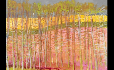 Wolf Kahn, Trees Against Magenta, 2014, oil on canvas, 40 x 52 inches