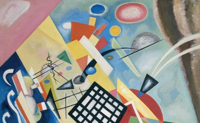 (detail) Wassily Kandinsky, Black Grid (Schwarzer Raster), oil on canvas, 1922