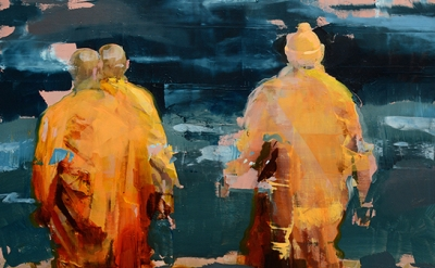 (detail) Alex Kanevsky, Monks at Sea, 2015, oil on panel, 18 x 18 inches (courte