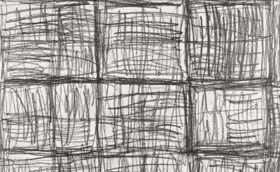 (detail) Untitled 1995, Linda Karshan, pencil on paper, collection of the Courta