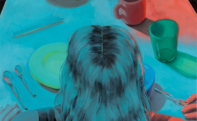 Jordan Kasey, At the Table, 2017, oil on canvas, 57 x 71 inches (courtesy of Nicelle Beauchene Gallery)