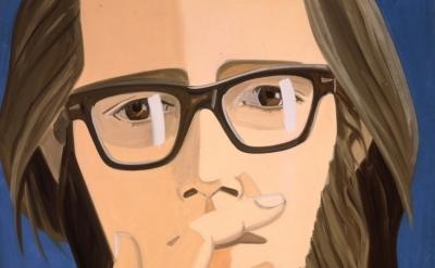 (detail) Alex Katz, Ted Berrigan, 1967, oil on linen, 48 x 48 inches (courtesy P