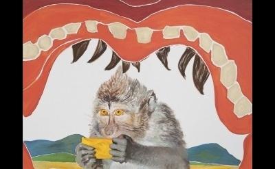Allison Katz, Double Hunger, 2015, oil on canvas, 194.5 x 179 x 4.5 cm (courtesy