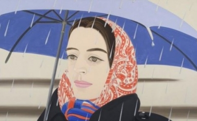 (detail) Alex Katz, Blue Umbrella #2, 1972, oil on canvas (courtesy Peter Blum G