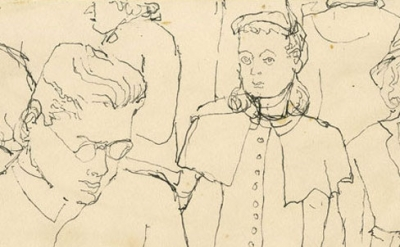 (detail) Alex Katz, Crowd on Subway, c 1940s. pen, 4 7/8 x 7 7/8 inches (© Alex Katz / DACS, London / VAGA, New York, courtesy of Timothy Taylor)