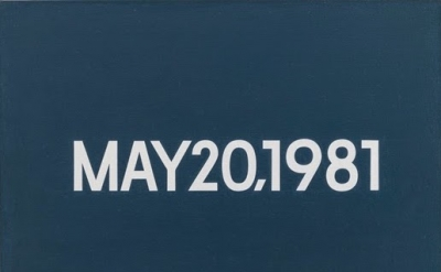 "(detail) On Kawara, MAY 20, 1981, ""Wednesday."" New York, From Today, 1966–2013,"