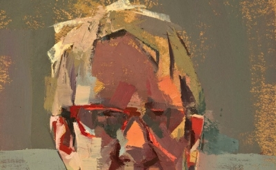 (detail) Catherine Kehoe, Self-portrait with red glasses, 2010, oil on board (co