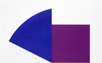Ellsworth Kelly, Purple Panel with Blue Curve, 1989, oil on canvas, two joined p
