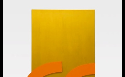 Ellsworth Kelly, Gold with Orange Reliefs, 2013, oil and canvas and wood (courte