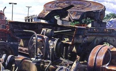 Ken Tighe, o.b.hill, 1993, 28 x 40 inches, oil on canvas, detail