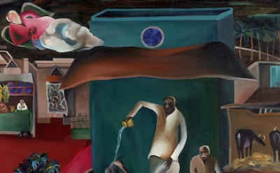(detail) Bhupen Khakhar, Death in the Family, 1977 (Victoria and Albert Museum © The Estate of Bhupen Khakhar)