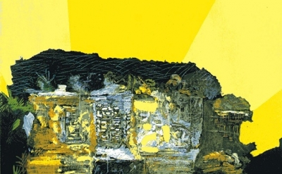 (detail) Per Kirkeby, A Picture of Yucatan, 1972-1973, mixed media on masonite,