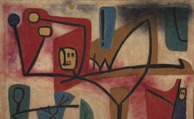Paul Klee, Übermut Exubérance, 1939, oil and color glue paint on paper on hessian canvas (courtesy Zentrum Paul Klee, Bern)