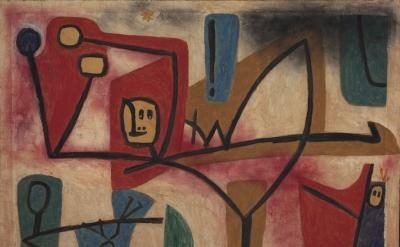 Paul Klee, Übermut Exubérance, 1939, oil and color glue paint on paper on hessian canvas (courtesy Zentrum Paul Klee, Bern)