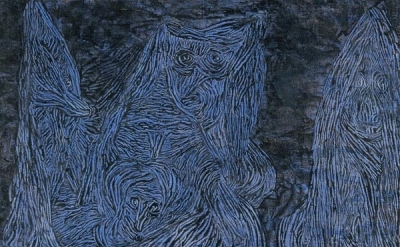 (detail) Paul Klee, Walpurgis Night, 1935, gouache on cloth laid on wood, 508 ×