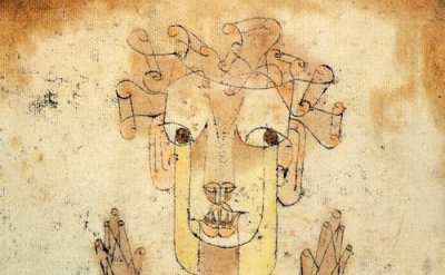 (detail) Paul Klee, Angelus Novus, 1920, oil transfer and watercolor on paper, 1