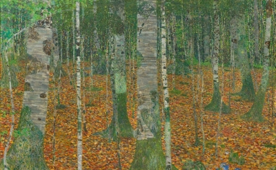 (detail) Gustav Klimt, Birch Forest, 1903, oil on canvas, 42 1/4 x 42 1/4 inches