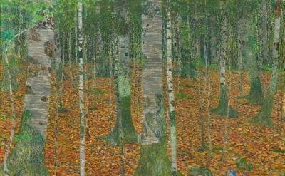 (detail) Gustav Klimt, Birch Forest, 1903, oil on canvas, 42 1/4 x 42 1/4 inches