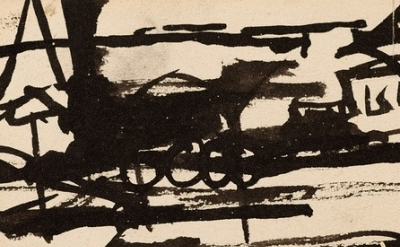 (detail) Franz Kline, Untitled-Locomotive, (© 2013 The Franz Kline Estate / Arti