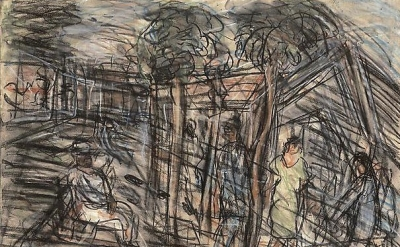 Leon Kossoff, Street in Willesden no. 3, 1982 (courtesy of Mitchell-Iness & Nash