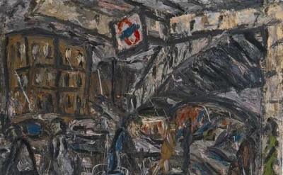 (detail) Leon Kossoff, Outside Kilburn Underground Station, 1984, oil on board,