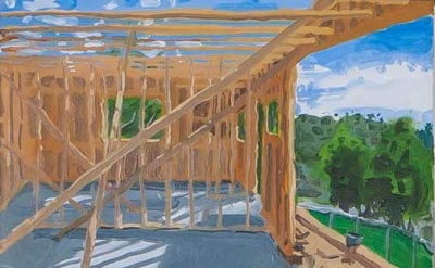 Julian Kreimer, Construction #1, oil on linen, 15 x 18 inches (courtesy of the a